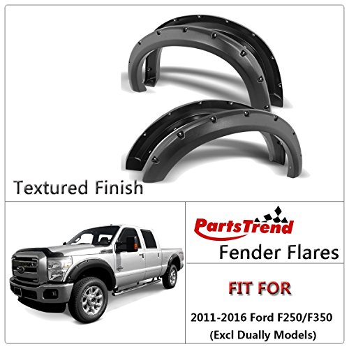 4Pcs Offroad Black Textured Pocket Style Rivet Fender Flares Wheel Covers Fits 11-16 Ford F250 F350 (Camo Fender Cover)