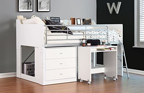 Harriet Bee Twin Loft Wooden Bed Frame, 2 Step Ladder and Steel Rails with 3 Drawers (White)
