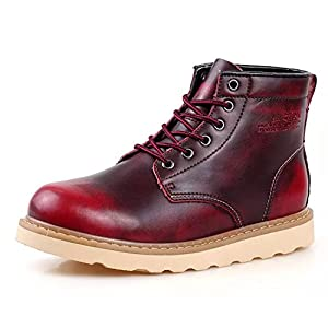 Pattrily Mens Winter Boots High Top Lace-up Lined Warm Snow Boots Fashion Sneaker Outdoor Non-slip