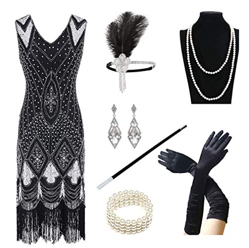 1920s Women's Gatsby Costume Flapper Dresses V Neck