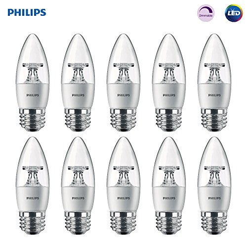 Philips LED Dimmable B11 Clear Candle Light Bulb: 300-Lumen, 2700-Kelvin, 4.5-Watt (40-Watt Equivalent), E26 Base, Soft White, 10-Pack