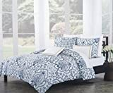 Tahari Bedding 3 Piece Duvet Cover Set Jacobean French Floral Medallion Pattern in Dark Blue on White with Tan Highlights (Full / Queen)