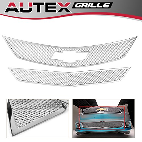 AUTEX Mesh Grille Combo Compatible with Chevrolet Impala 2014-2016 Bolt Over Main Upper + Lower Bumper Grill C71312T