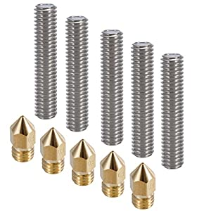 PChero 5pcs 30MM Length Extruder 1.75mm Tube and 5pcs 0.4mm Brass Extruder Nozzle Print Heads for Anet A8 and MK8 Makerbot Reprap 3D Printers by PChero