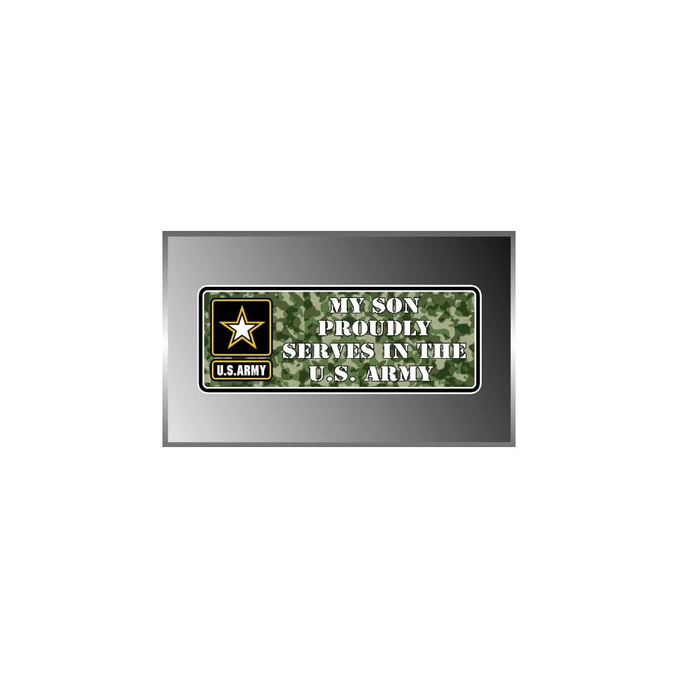 My Son Proudly Serves in the United States USA Army Vinyl Decal Bumper