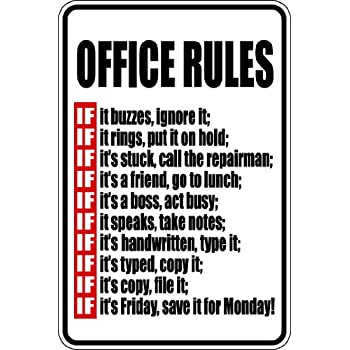 Amazon.com: Office Rules 8x12 funny novelty metal aluminum ...