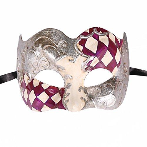 Silver Harlequin Half Mask (Xvevina Harlequin Half face Jester Masquerade Mask Luxury Venetian Design (Harlequin purple/silver))