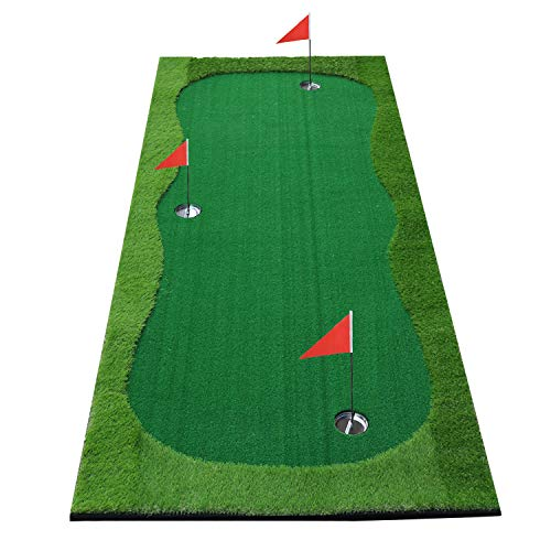 Putt About Putting Green - BOBURACN Golf Putting Green/Mat-Golf Training Mat- Professional Golf Practice Mat- Green Long Challenging Putter for Indoor/Outdoor (Green, 4x10ft)