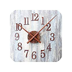 Wenzi-day Wall Clock Retro Clocks Mute Vintage Wall Watch 3D Stickers Home Decor Art Time 19.6