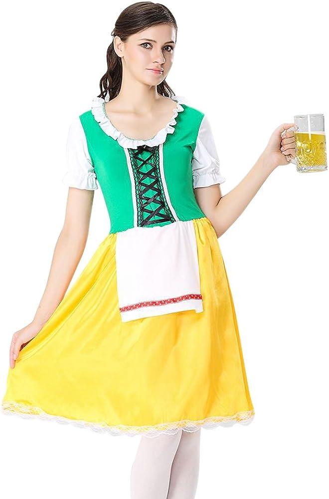 BOZEVON Disfraz de Baviera Mujer Vestido de Oktoberfest ...