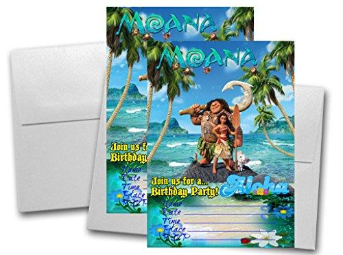 12 MOANA Birthday Invitation Cards (12 White Envelops Included) #2