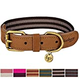 Blueberry Pet 6 Colors Vintage Staple Striped Soft Genuine Leather and Polyester Webbing Dog Collar in Chocolate and Taupe, Small, Neck 12'-15', Adjustable Collars for Dogs