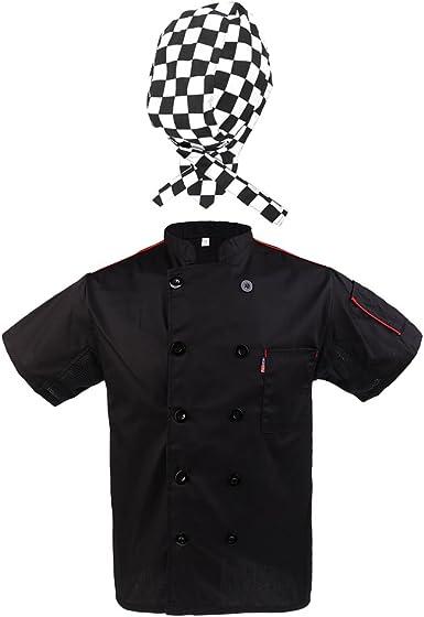 Chamarra con Gorra de Cocinero Hombre Negro Uniformes Ropa Hotel Chef Cooks Sombrero Camarero - Negro, Único: Amazon.es: Ropa y accesorios