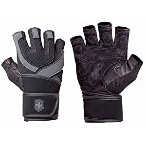 Harbinger Training Grip Wristwrap Weightlifting Gloves with TechGel-Padded Leather Palm (Old Style), X-Large