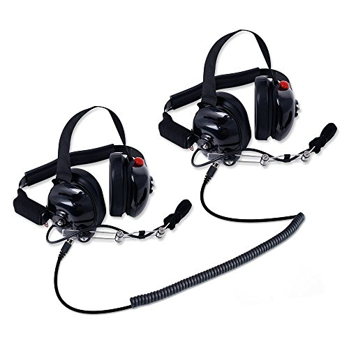Rugged Radios H80-DOUBLE-TALK-X2 Linkable Intercom Headset Kit for 2 People - Great for NASCAR Races and in-Car Communications - Features 3.5mm Input Jack for Scanners/Music Players (Scanner Radio Headphone)