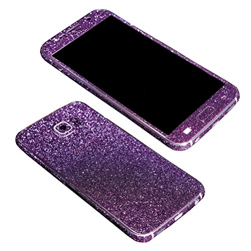 Just Mode(TM)Glittering Style Full Body Bling Glitter Film Sticker Case Cover Protector for Samsung Galaxy S6-Purple