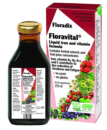 Floradix Floravital Liquid Iron and Vitamin Formula 8.5 fl.oz. – 250 ml. – Made in Germany (3 Pack) For Sale