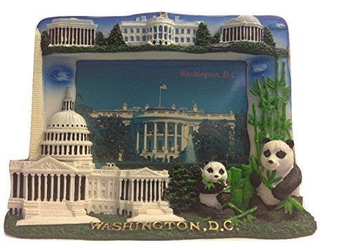 3 D White House, Washington Monument, Lincoln Memorial, Jefferson Memorial, US Capitol & National Zoo Washington DC Souvenir Decorative Picture Frame by ASFSouvenir