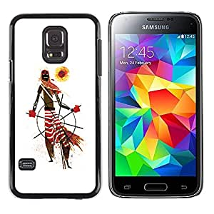 Shell-Star Arte & diseño plástico duro Fundas Cover Cubre Hard Case Cover para Samsung Galaxy S5 Mini / Samsung Galaxy S5 Mini Duos / SM-G800 !!!NOT S5 REGULAR! ( African Tribal Man Art Scarf Pattern Sun )