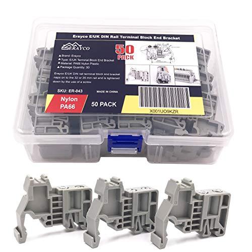 Erayco E/UK DIN Rail Terminal Blocks End Stopper Bracket Grey, Terminal Block Connector (Pack of 50)