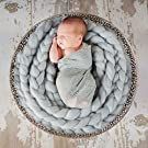 Sunmig Newborn Baby Roving Braid Wool Spinning Fiber Rugs Photography Photo Props (Grey)