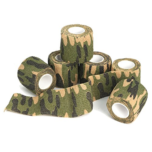 OUTERDO 6 Rolls 14.8x0.16ft Military Camouflage Tape Camo Wrap Outdoor Self-Adhesive Protective Camo Form Non-Woven Fabric Camo Stretch Bandage for Hunting Gun,Firearms,Knives,Flashlight
