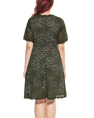Women's Plus Size Flutter Sleeve V-Neckline Lace Flared Cocktail Party Dress Green 24W by Daci (Image #4)