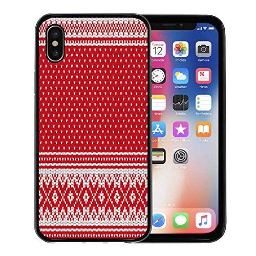(Semtomn Phone Case for Apple iPhone Xs case,Red Fair Jacquard Fairisle Wool Knitting Pattern Isle Nordic Sweater for iPhone X Case,Rubber Border Protective Case,Black)
