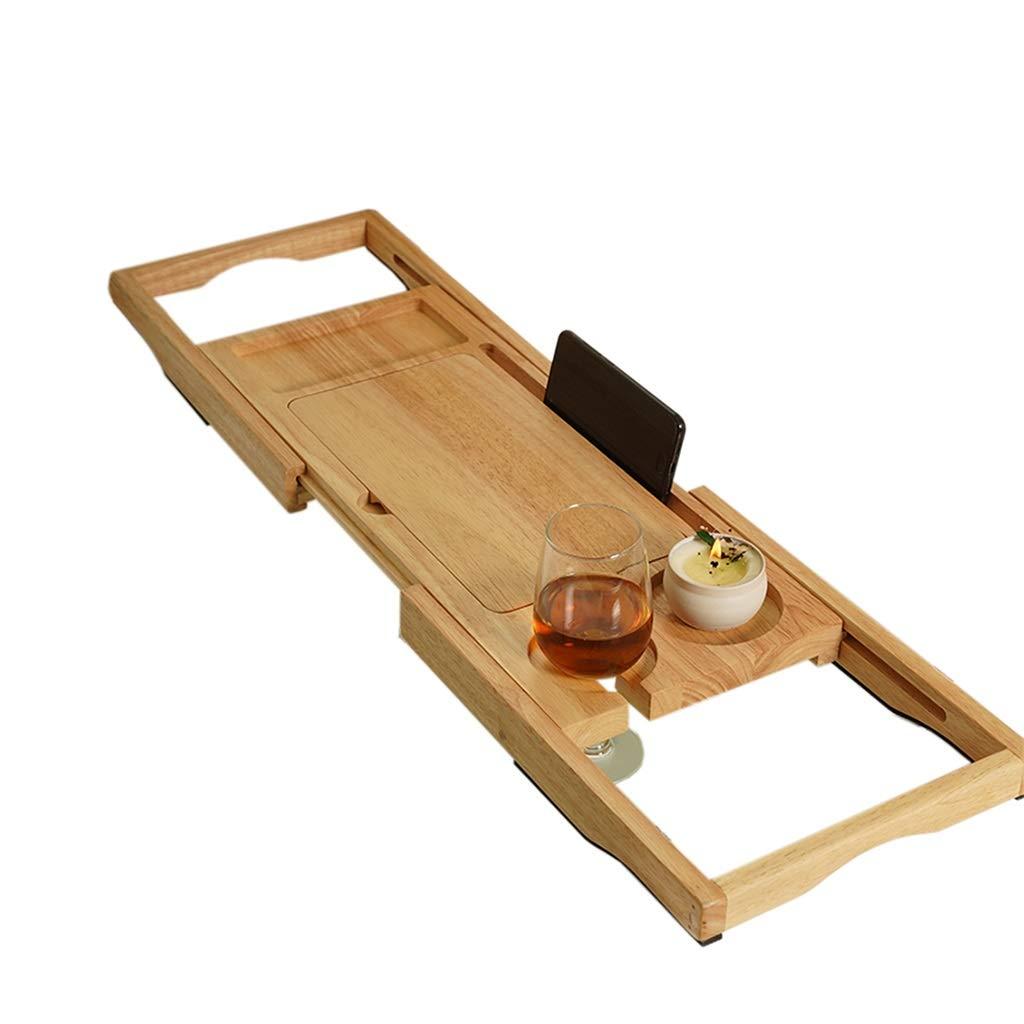 ZhaoLiRuShop Bathtub Trays Bath Caddy Bath Tray Bath Board Solid Wood Telescopic Non-Slip Bathtub Frame Mildew Bath Bracket Bath Tub Barrel Bath Bracket (Color : Natural, Size : 62.5-9520cm)