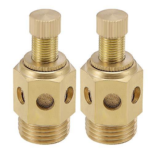 uxcell Top Adjustable Pneumatic Air Exhaust Silencer Muffler Copper 1/2 BSPT Gold Tone 2pcs