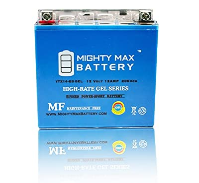 YTX14-BS GEL 12V 12AH Battery for 08-12 Kawasaki ZG1400 Concours - Mighty Max Battery brand product