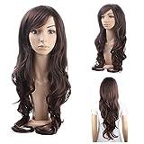 MelodySusie Dark Brown Long Curly Wig Fascinating Women Long Curly Wig with Free Wig Cap (Dark Brown)