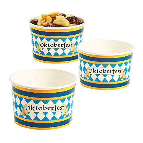 Fun Express - Oktoberfest Snack Bowls (25pc) for Party - Party Supplies - Print Tableware - Print Plates & Bowls - Party - 25 Pieces