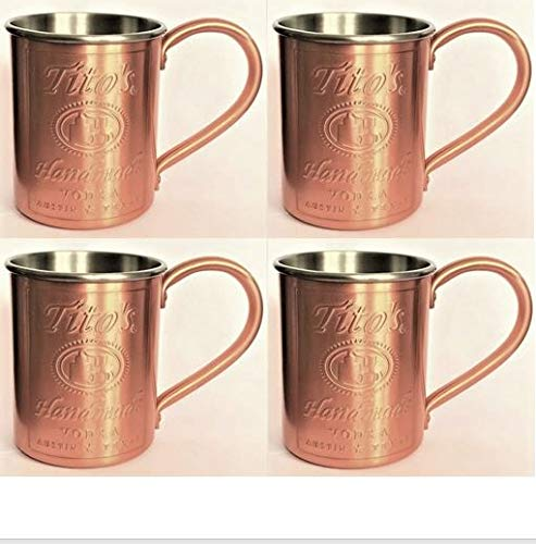 Tito's Vodka Copper/Stainless Steel Lined Mug - NEW - Set of 4