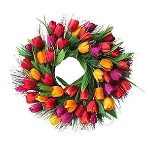 Wedding Wreath Fashion Fake Tulip Flower Decorative Door Wreath Hanging Wreath 55