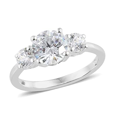 9f82aa427 J FRANCIS 925 Sterling Silver Made with Swarovski® Zirconia Three Stone Ring  for Women: Amazon.co.uk: Jewellery