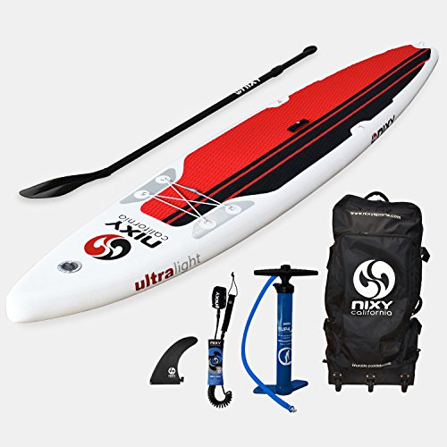 NIXY Touring Inflatable Stand Up Paddle Board Package. Ultra Light 12'6'' Manhattan Red & White Paddle Board Built with Advanced Fusion Laminated Dropstitch Technology and 2 YR Warranty by NIXY