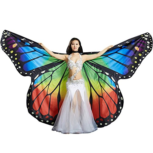 Calcifer Brand New Egyptian Egypt Belly Dance Monarch Butterfly Angel Isis Wings with 2 Telescopic Sticks (Angel Dance Costumes)