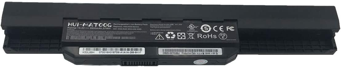 A41-K53 Laptop Battery for ASUS K54C K53S K53 K54HR SX316V A54C A54H X53E-RH51 X54HR-K53L85H X54H X53S X54C X53E Notebook 14.4V 2600mAh