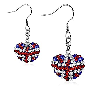Stainless Steel Flag Of The United Kingdom/ Union Jack Love Heart Shamballa Long Drop Hook Earrings w/ Colorful CZ (pair) - EEZ067