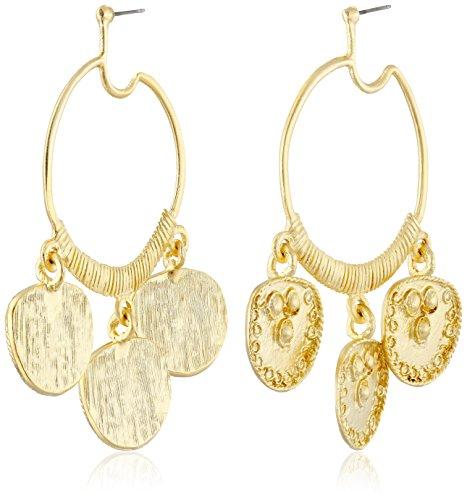 Kenneth Jay Lane Gold-Plated Hoop Drop Earrings