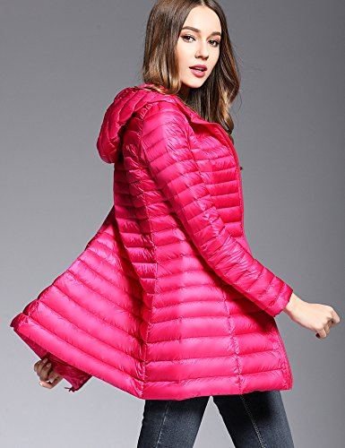 CHERRY Weight Jacket Long Coat Women's with Down Peach CHICK Hood Light Red rwtrU