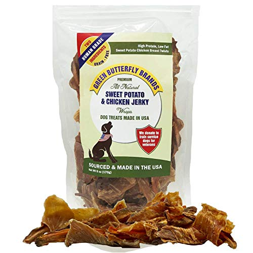 Green Butterfly Brands Sweet Potato Chicken Jerky Wraps - Dog Treats Made in USA - 2 Ingredients: USA Sourced Sweet Potato and USDA Grade A Chicken Breast. No Additives or Preservatives. 5 Ounces. -