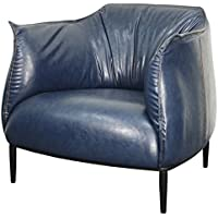 New Pacific Direct Chilton PU Leather Accent Chair,Black Steel Legs,Distressed Blue