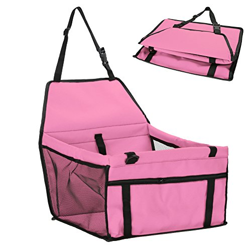 - Rumfo Pet Dog Car Booster Seat Pad House Cat Puppy Small Pets Travel Cage Safe Folding Portable with Clip-On Safety Leash and Zipper Storage Pocket (Pink)