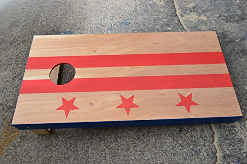Custom Stained Washington DC Flag Cornhole Boards Set with Bags