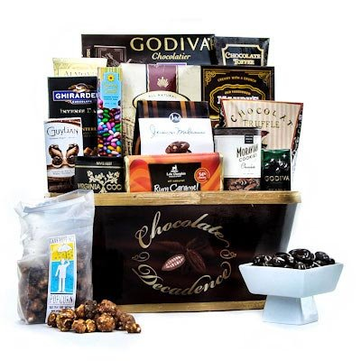 Gourmet Gift Basket With Chocolate, Nuts, Godiva