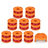 SODIAL Line String Trimmer Replacement Spool, [17-Pack] Replacement Autofeed Spool for Worx String Trimmer [16 Replacement Line Spool, 1 Trimmer Cap]