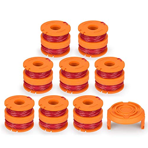 SODIAL Line String Trimmer Replacement Spool, [17-Pack] Replacement Autofeed Spool for Worx String Trimmer [16 Replacement Line Spool, 1 Trimmer Cap] by SODIAL