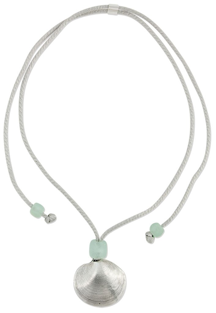 Mignon Faget Disc Mesh Necklace Sterling Silver with Sea Glass, 32''
